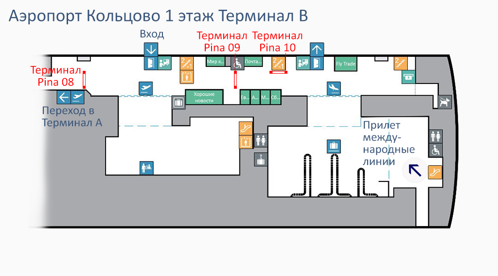 Схема Аэропорта Кольцово